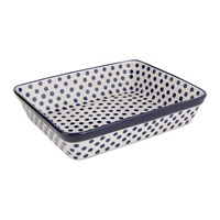 Bunzlau Castle Rectangular Oven Dish Blue Dots Small