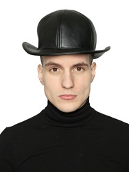Ktz Faux Leather Bowler Hat Black