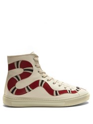 Gucci Major Snake Applique High Top Leather Trainers Red White