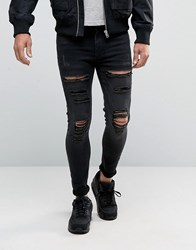 11 Degrees Super Skinny Jeans With Distressing Black