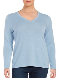 Lord And Taylor Plus Merino Wool V Neck Sweater Blue Shell