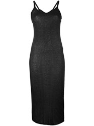 Rick Owens Lilies Midi Tank Dress Women Cotton Polyamide Viscose 40 Black