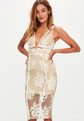 Missguided Nude Lace Plunge Cut Out Midi Dress Beige