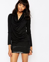 Minimum Long Sleeve Top With Ruched Neck 999Black