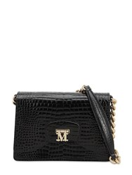 Max Mara Night 1 Croc Embossed Leather Bag Black