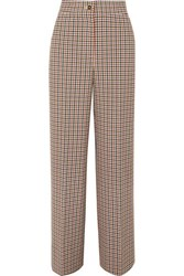 Tory Burch Checked Woven Wide Leg Pants Brown