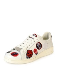 Alexander Mcqueen Skull Patch Leather Low Top Sneaker White