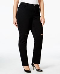 Styleandco. Style Co. Plus Size Distressed Black Wash Slim Leg Jeans Only At Macy's Deep Black