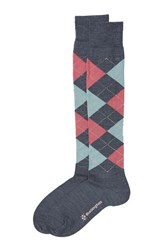 Burlington Knee High Argyle Print Socks With Virgin Wool Multicolor