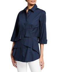 Finley Jenna Button Front 3 4 Sleeve Tiered Ruffle Blouse Navy