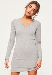 Missguided Grey V Neck Bodycon Dress