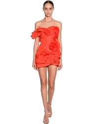Ermanno Scervino Short Ruffled Silk Dress Red