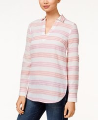 Tommy Hilfiger Katey Striped Button Side Tunic Top Coral Multi