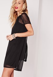 Missguided Short Sleeve Mesh T Shirt Dress Black Black