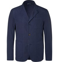 Alex Mill Blue Slim Fit Unstructured Cotton Ripstop Blazer Navy