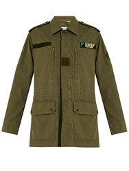 Saint Laurent Love Applique Cotton Blend Military Jacket Khaki