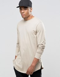 Asos Relaxed Longline Long Sleeve T Shirt With Curved Hem And Zips In Tan Oxford Brown