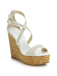 Jimmy Choo Portia Woven Fabric And Cork Platform Wedge Sandals Navy