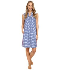 Hatley Sleeveless Shirtdress Sapphire Embossed Flowers Women's Dress Blue