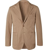 Aspesi Tan Slim Fit Unstructured Garment Dyed Cotton Blazer Beige