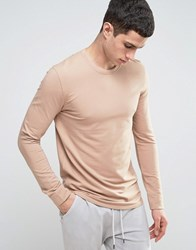 Selected Homme Longline Sweatshirt With Curved Hem And Back Stitch Stucco Beige