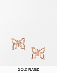Stella And Bow Butterfly Rose Gold Plated Stud Earring Rosegold
