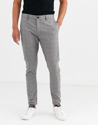 Brave Soul Skinny Fit Checked Trousers Grey