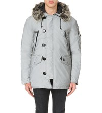 Alpha Reflective Shell Parka Coat Silver