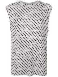 Zoe Karssen Striped Print Sleeveless T Shirt Grey