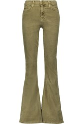 Current Elliott The High Rise Cotton Blend Corduroy Flared Jeans Army Green