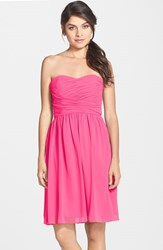 Women's Donna Morgan 'Sarah' Strapless Ruched Chiffon Dress Strawberry