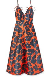 Lela Rose Floral Print Satin Midi Dress Bright Orange