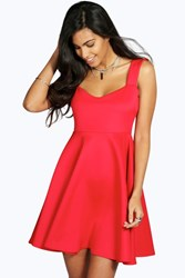 Boohoo Wide Strap Sweetheart Skater Dress Red