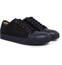 Lanvin Cap Toe Suede And Leather Sneakers Midnight Blue
