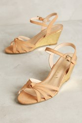 Anthropologie Vicenza Gold Cork Wedges Beige