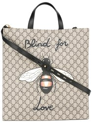Gucci Bee Print Soft Gg Supreme Tote Brown
