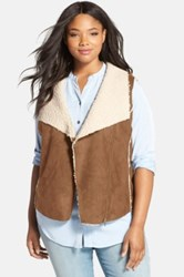 Caslon Faux Shearling Vest Plus Size Brown