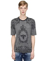 Dolce And Gabbana Crown Bee Print Cotton Jersey T Shirt