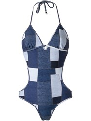 Amir Slama Panelled Swimsuit Blue