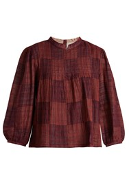 Ace And Jig Mallorca Bell Sleeved Cotton Gauze Top Burgundy