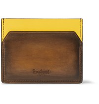 Berluti Bambou Two Tone Polished Leather Cardholder Brown