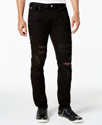Guess Men's Slim Fit Tapered Stitch Black Ripped Jeans Division Wash Black W Destroy