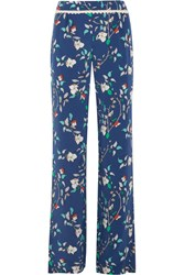 Paloma Blue Portofino Crochet Trimmed Printed Silk Satin Wide Leg Pants Navy