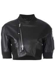 Diesel Black Gold Off Centre Zip Cropped Jacket Black