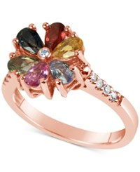 Macy's Multi Sapphire 1 1 2 Ct. T.W. And Diamond 1 10 Ct. T.W. Flower Ring In 14K Rose Gold