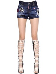 Dsquared Cool Girl Stretch Denim Shorts W Patches