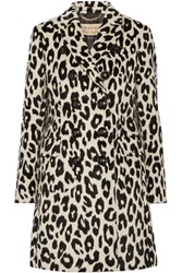 Burberry London Plaistow Leopard Print Llama Hair And Wool Blend Trench Coat Leopard Print