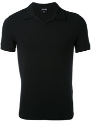 Giorgio Armani Fitted Polo Top Men Spandex Elastane Viscose 56 Black