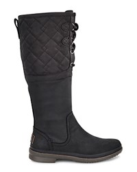 Ugg Elsa Quilted Leather And Sheepskin Lace Up Tall Boots Black