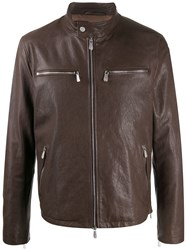 Eleventy Stand Up Collar Leather Jacket 60
